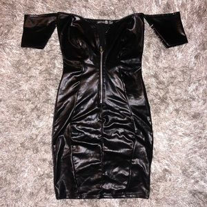 Faux Leather Off Shoulder Mini Black Dress Small 2